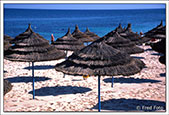 Sun shades on the beach at El Kantaoui